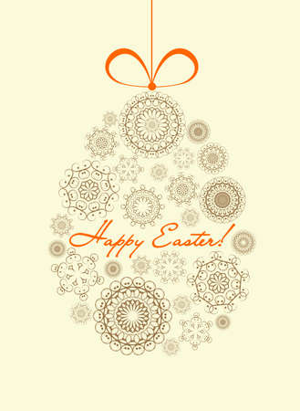 Easter card with ornamental egg and greetings Vector