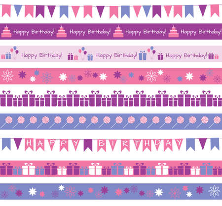 Set of different borders for birthday party or greetings Vector