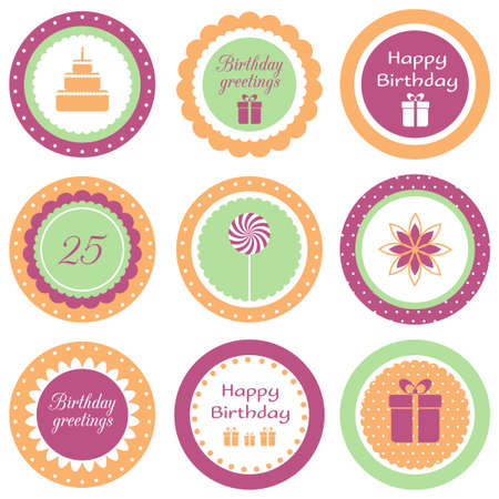Set of circle labels for birthday party Vector