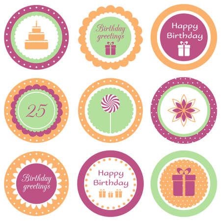 Set of circle labels for birthday party Illusztráció