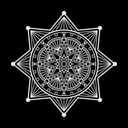 Abstract vector mandala ornament on a black background Vector
