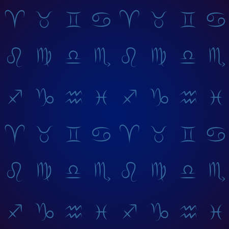 Dark blue seamless pattern with astrological zodiac signs Vector