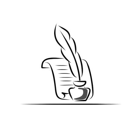 inkwell: Paper scroll, feather and inkwell  Vector symbol