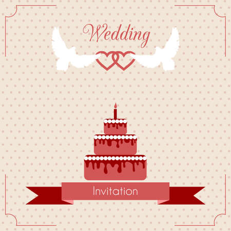 Wedding invitation card with cake. Vector template. Vector