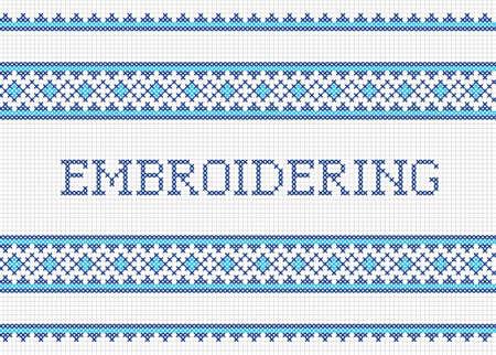 stitch: Decorative cross stitch needlework design  Handmade embroidering