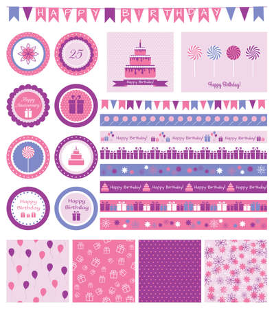 Vector set of birthday design elements and cards  Illustration