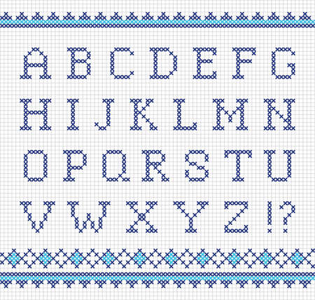 stitches: Vector set of cross-stitched letters  Embroidering alphabet