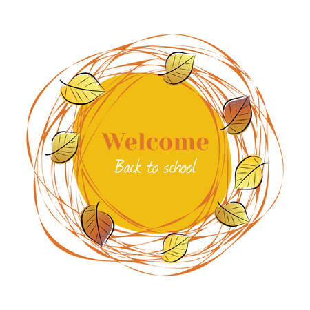 Abstract vector frame with scribbles and autumn leaves Vector