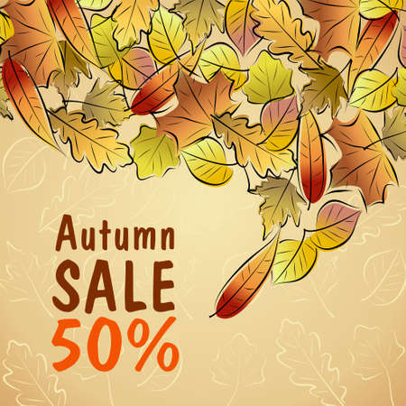 Vector poster for autumnal sale  Discount 50  Vector