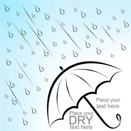 Poster with dry text under umbrella and rain