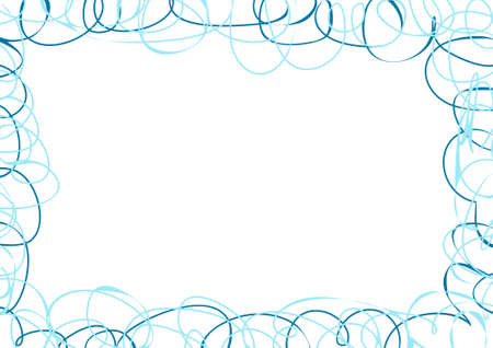 Vector horizontal abstract frame with blue scribbles Vector