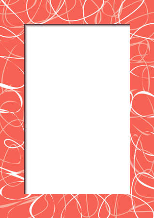 Vector vertical red frame with abstract scribbles Vector