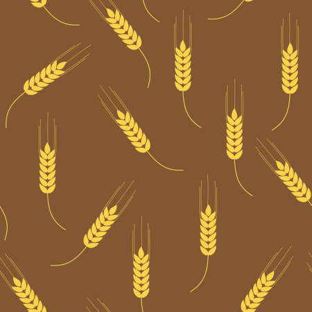 Vector seamless brown pattern with wheat ears Vector