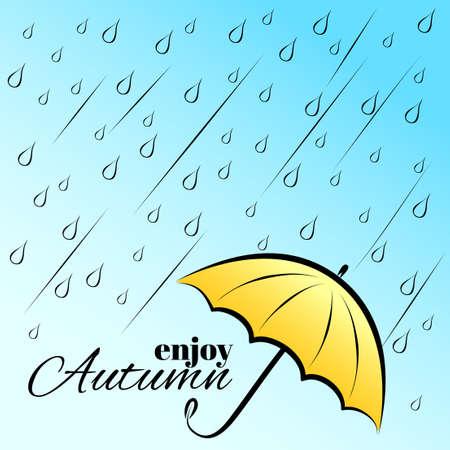 yellow umbrella: Vector illustration with rain and yellow umbrella