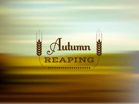 Vector blurred background with text, autumn reaping Vector