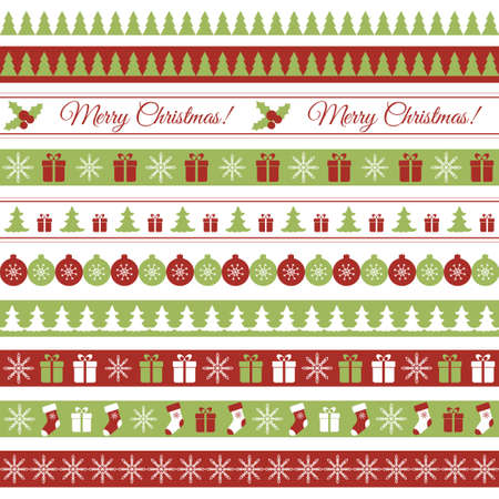 Vector seamless horizontal borders for Christmas design