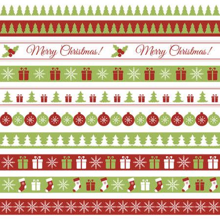decorative lines: Sin fisuras vector bordes horizontales para el dise�o de Navidad