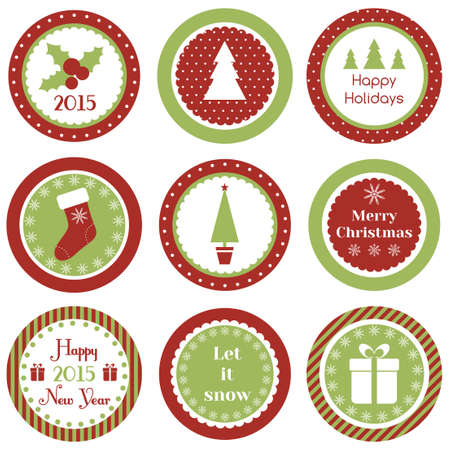 Cupcake toppers for Christmas and New Year Vector