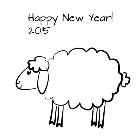 Vector greeting card with cute sheep outline. Vector