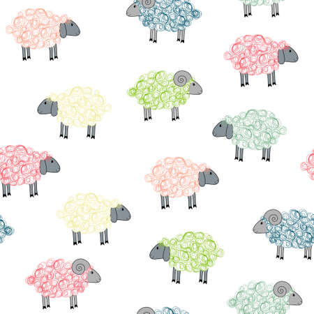 Vector seamless pattern with funny colored sheeps Ilustracja