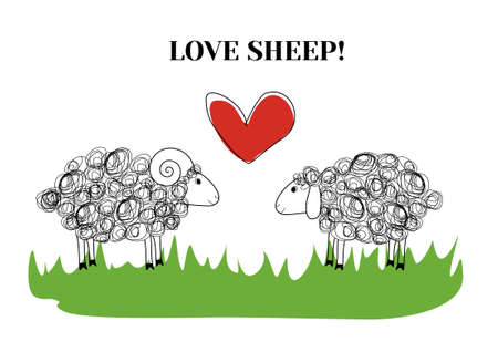 Two sheeps in love. Couple. Vector illustration Vector