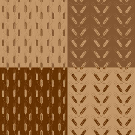 agriculture wallpaper: Set of seamless patterns with wheat ears Illustration