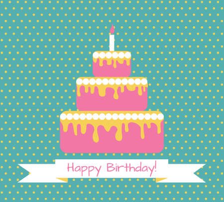 congratulations text: Birthday greeting retro card with cake. Vector illustration Illustration