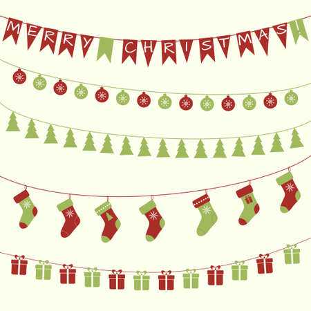 bunting flag: Vector set of Christmas decorative festive garlrnds