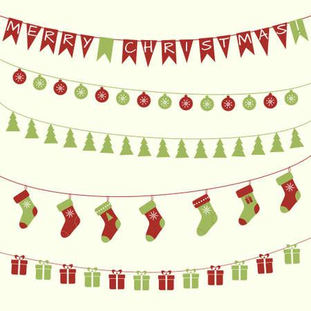 Vector set of Christmas decorative festive garlrnds