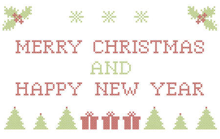Christmas greeting card with cross stitch embroidering elements and greetings Vector