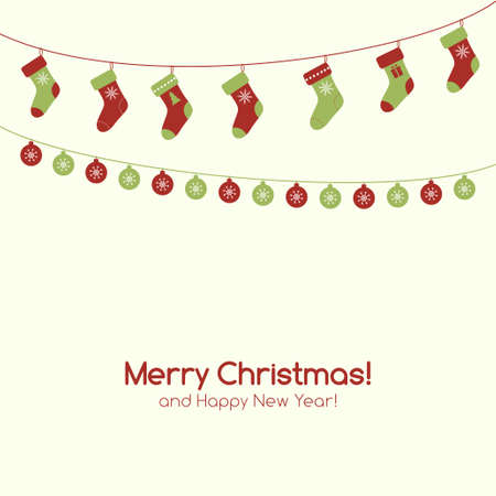 christmas sock: Vector Christmas greeting card with festive garlands