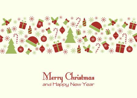 Vector greeting card with Christmas festive elements Vector