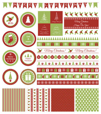 borders abstract: Vector set of design elements for Christmas party Illustration