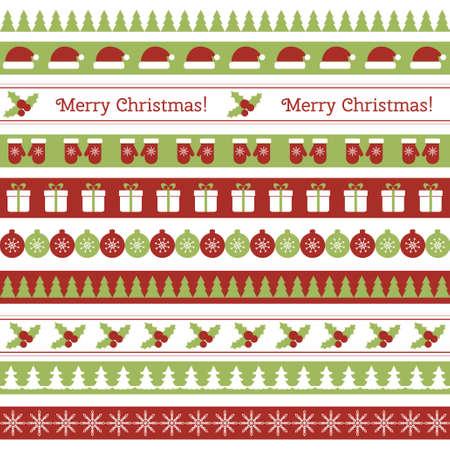 Vector seamless horizontal borders for Christmas design