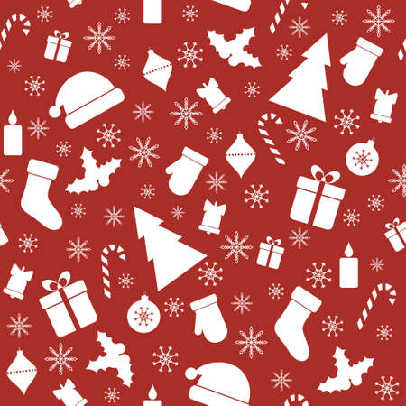 Vector seamless red pattern with Christmas elements Vector