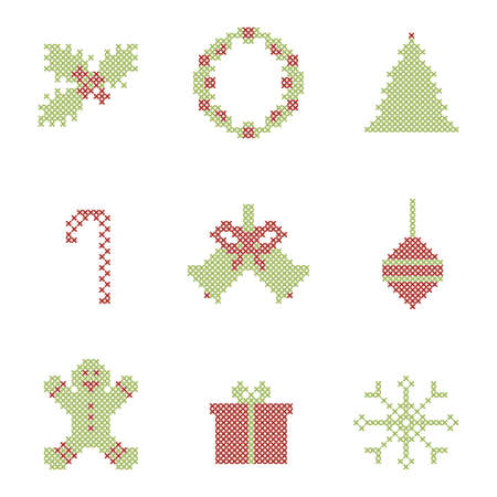 Christmas festive elements. Cross stitch embroidered. Vector Vector