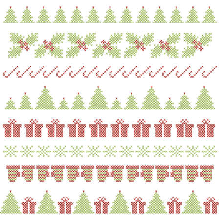 Christmas festive borders. Cross stitch embroidered. Vector Vector