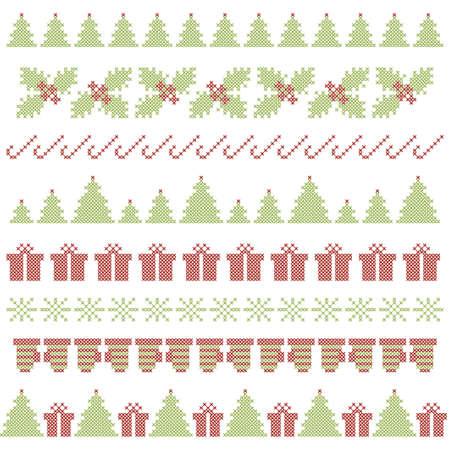 punto cruz: Fronteras de la Navidad festivas. Punto de cruz bordado. Vector Vectores