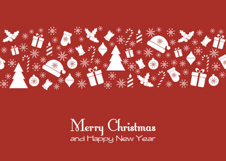 Vector greeting card with Christmas festive elements