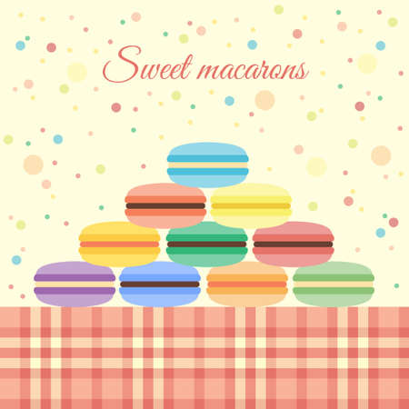 Greeting card with macarons on the table Ilustração