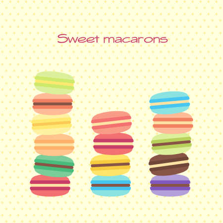 Vector greeting card with a lot of sweet macarons