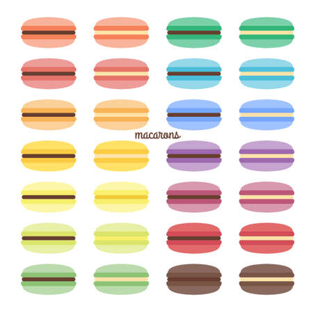 Vector set of sweet macarons of different colors Ilustração