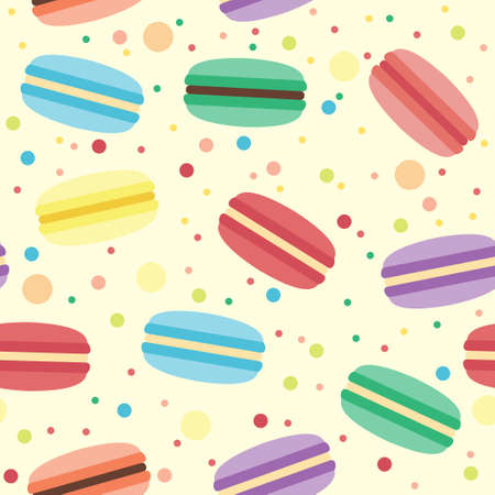 Vector seamless pattern with macarons of different colors Ilustração
