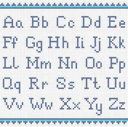 punto cruz: Vector conjunto de letras punto de cruz. Bordado alfabeto.