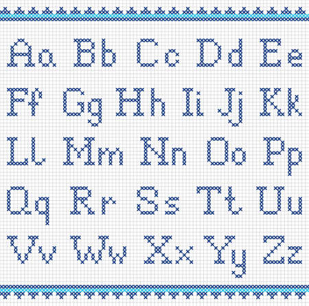 embroidered: Vector set of cross-stitched letters. Embroidering alphabet. Illustration