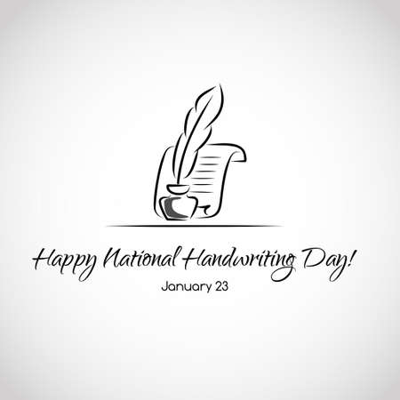 a literary sketch: Vector greeting card for national handwriting day Illustration