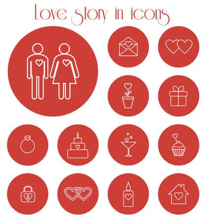 bougie coeur: Ensemble d'ic�nes vectorielles pour une histoire d'amour
