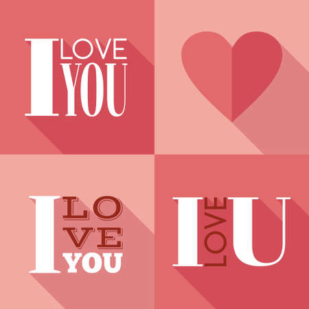 Vector flat cards with lettering I love you