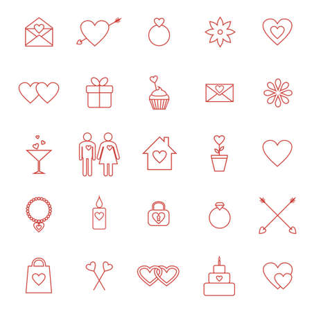 Vector set of line icons for Valentine day or wedding design Illustration