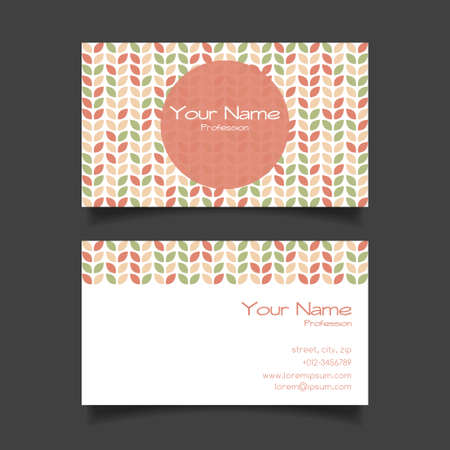 simple logo: Business card vector template with nice pattern